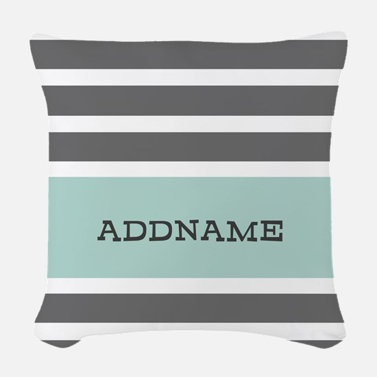 Gray and Mint Stripes Personal Woven Throw Pillow