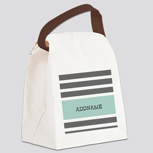 Gray and Mint Stripes Personalize Canvas Lunch Bag