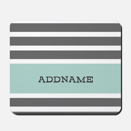Gray and Mint Stripes Personalized Mousepad