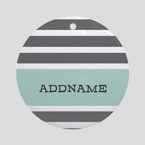Gray and Mint Stripes Personalize Ornament (Round)