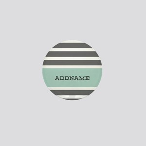 Gray and Mint Stripes Personalized Mini Button