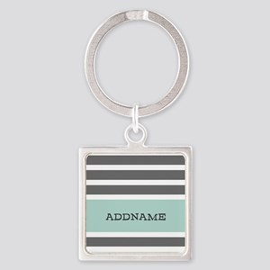 Gray and Mint Stripes Personalized Square Keychain