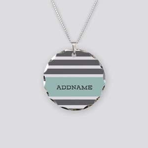 Gray and Mint Stripes Person Necklace Circle Charm