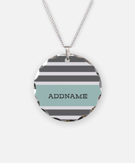 Gray and Mint Stripes Person Necklace