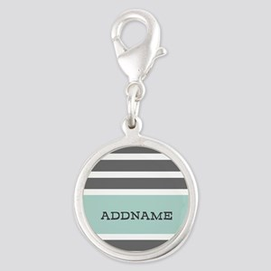 Gray and Mint Stripes Personal Silver Round Charm