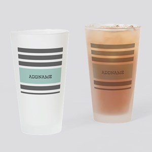 Gray and Mint Stripes Personalized Drinking Glass