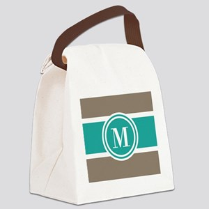 Tan Colorblock Custom Monogram Canvas Lunch Bag