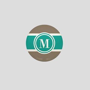 Tan Colorblock Custom Monogram Mini Button