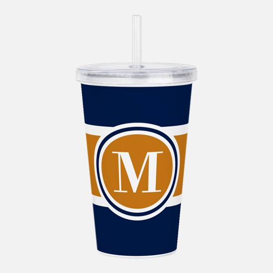 Navy and Yellow Color Acrylic Double-wall Tumbler