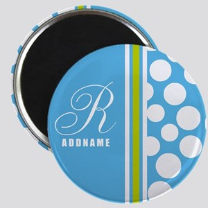 Turquoise and White Polka Dots Personalized Magnet