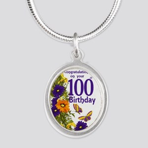 100th Birthday Floral Silver Oval Necklaces