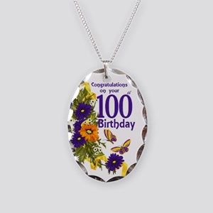 100th Birthday Floral Necklace Oval Charm