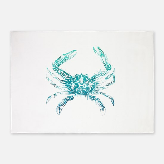 Coastal Nautical Beach Crab 5 X7 Area Rug