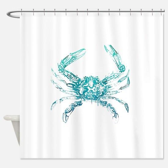coastal nautical beach crab Shower Curtain
