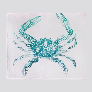 coastal nautical beach crab Throw Blanket