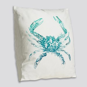 coastal nautical beach crab Burlap Throw Pillow