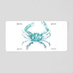 coastal nautical beach crab Aluminum License Plate
