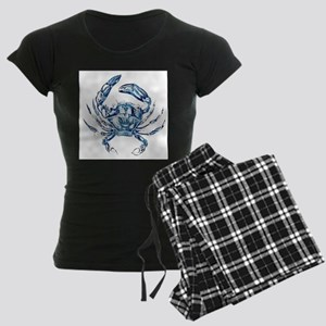 coastal nautical beach crab Women's Dark Pajamas