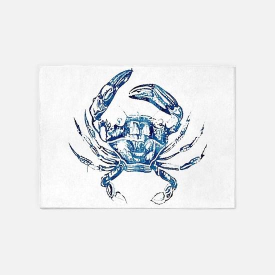 coastal nautical beach crab 5'x7'Area Rug