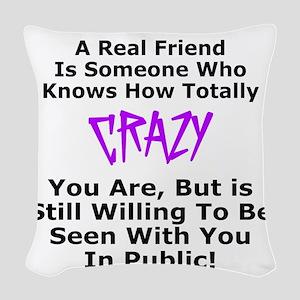 A REAL FRIEND Woven Throw Pillow