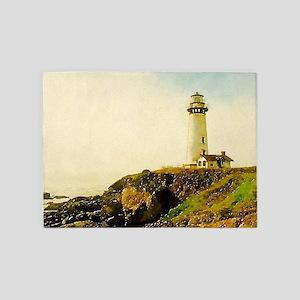 vintage coastal lighthouse 5'x7'Area Rug