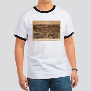 Vintage Pictorial Map of Chicago (1871)(2) T-Shirt