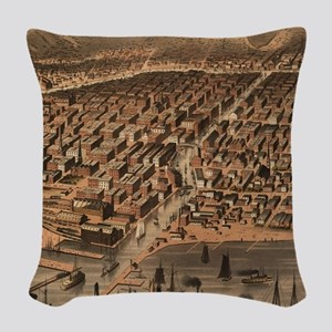 Vintage Pictorial Map of Chica Woven Throw Pillow