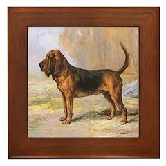 Vintage Bloodhound Framed Tile