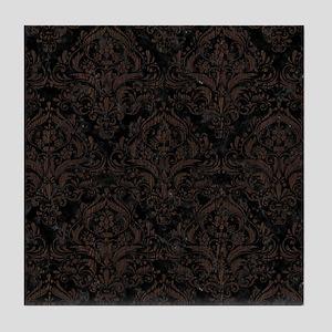 DAMASK1 BLACK MARBLE & DARK BROWN WOO Tile Coaster