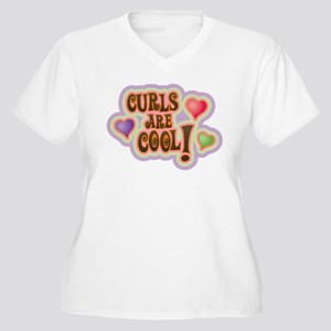 Curls and Hearts Are Cool! Women's Plus Size V-Nec