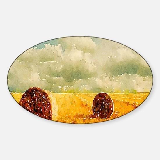 watercolor hay bale farm Decal