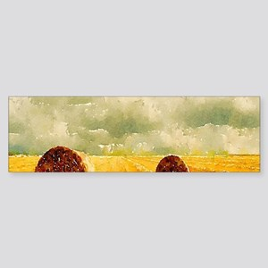 watercolor hay bale farm Bumper Sticker