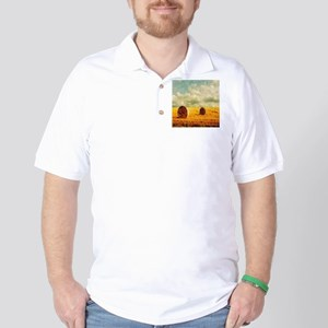 watercolor hay bale farm Golf Shirt
