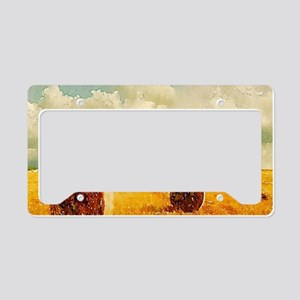 watercolor hay bale farm License Plate Holder