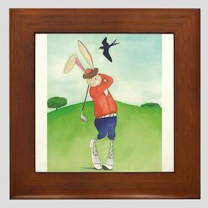 Bunny Golfer Framed Tile