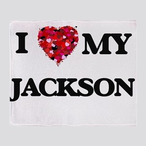 I Love MY Jackson Throw Blanket