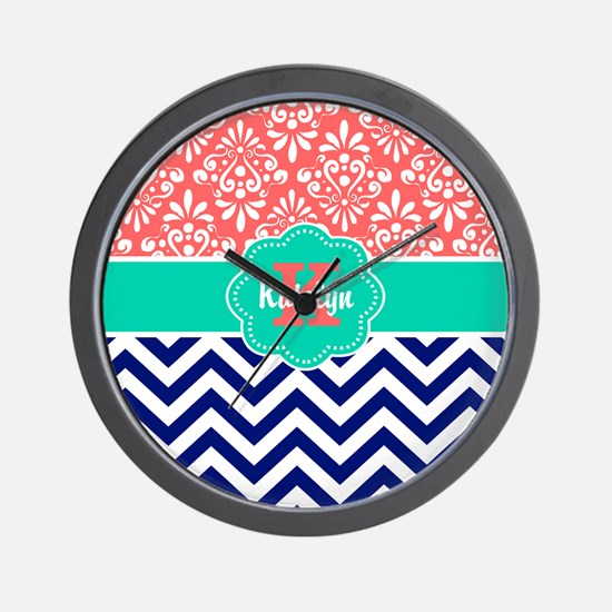 Coral Teal Chevron Damask Personalized Wall Clock