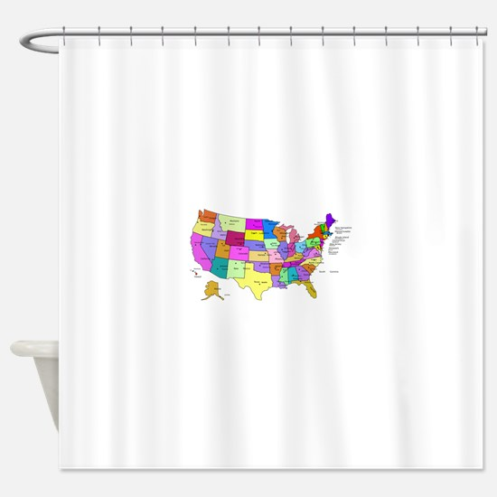 Labeled Colorful USA Shower Curtain