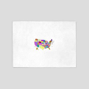 Labeled Colorful USA 5'x7'Area Rug
