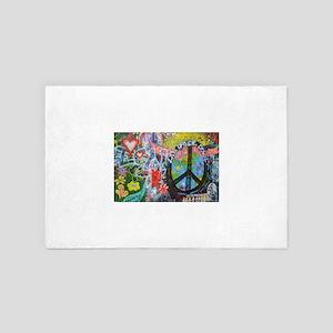 Love & Peace on the Lennon Wall 4' x 6' Rug