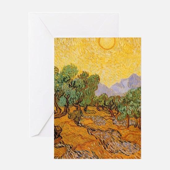 Van Gogh Olive Trees Yellow Sky Sun Greeting Cards