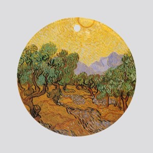 Van Gogh Olive Trees Yellow Sky S Ornament (Round)