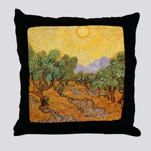 Van Gogh Olive Trees Yellow Sky Sun Throw Pillow