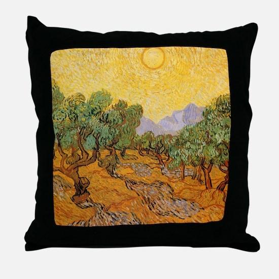 Van Gogh Olive Trees Yellow Sky Sun Throw Pillow
