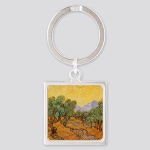 Van Gogh Olive Trees Yellow Sky Sun Keychains
