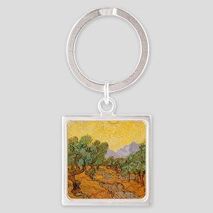 Van Gogh Olive Trees Yellow Sky Sun Keychains