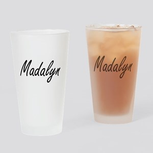 Madalyn artistic Name Design Drinking Glass