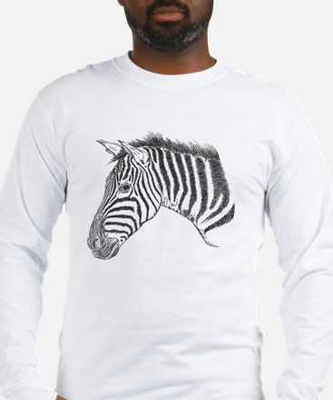 Zebra Face Illustration Long Sleeve T-Shirt
