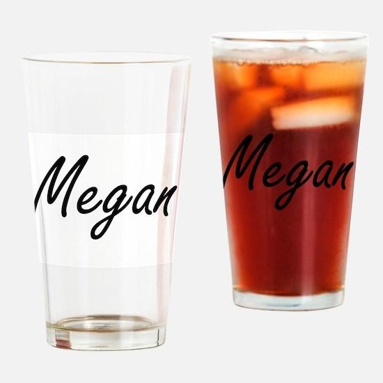 Megan artistic Name Design Drinking Glass