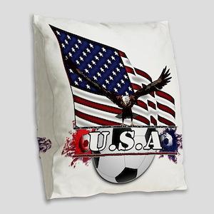 Patriotic Soccer Burlap Throw Pillow